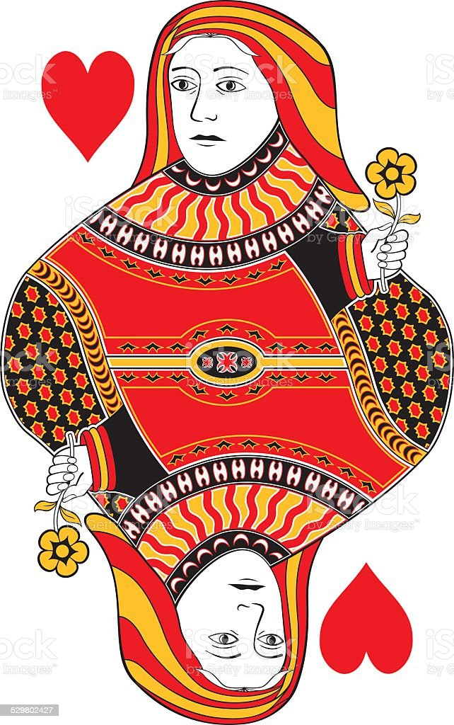 Queen of hearts no card vector art illustration