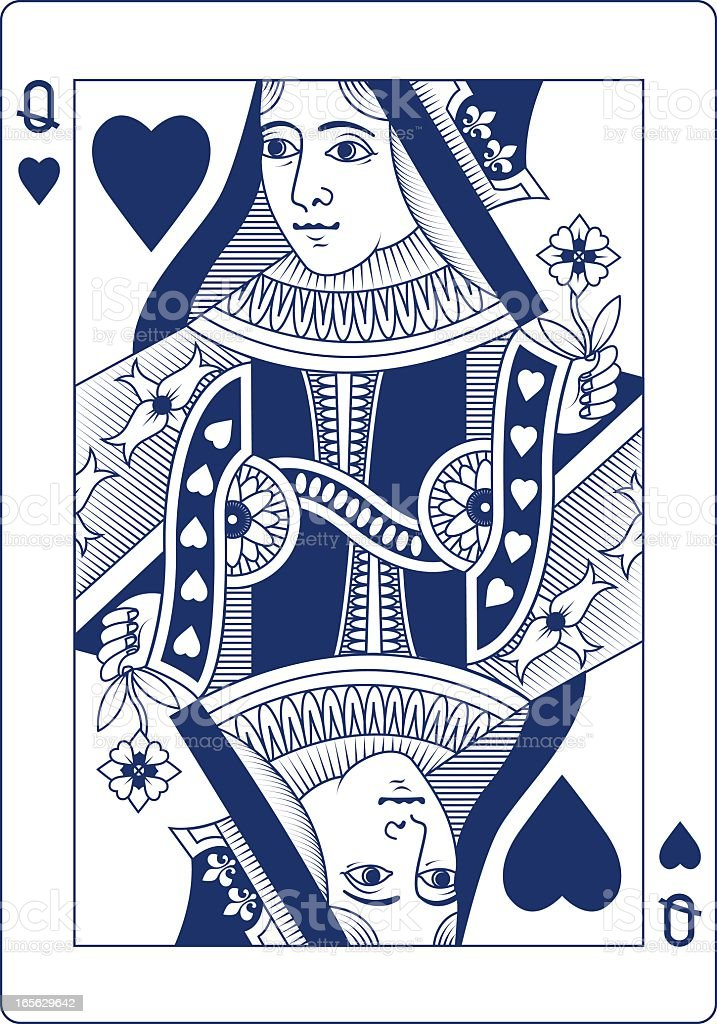 Queen of Hearts playing card in blue vector art illustration