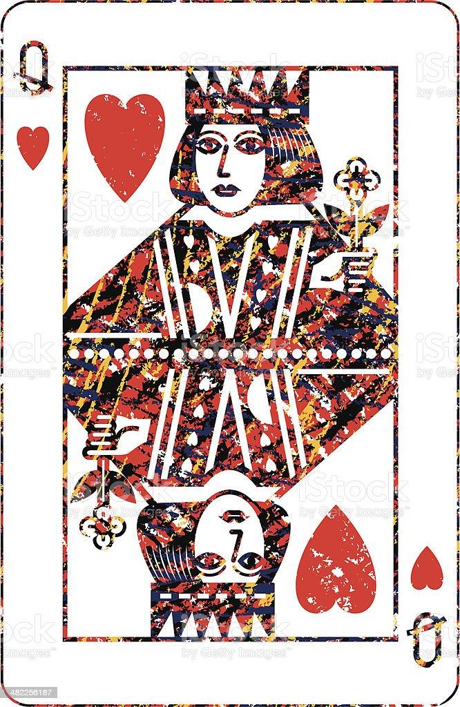 Queen of Hearts Scribble Pattern vector art illustration