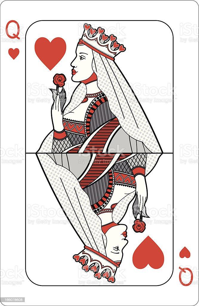 Queen of hearts vector art illustration