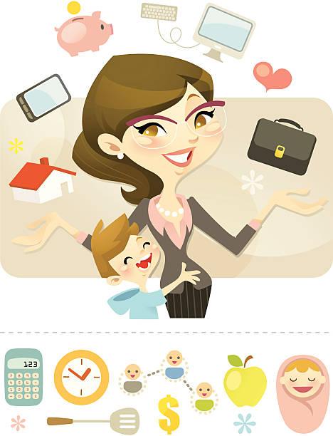 illustrations, cliparts, dessins animés et icônes de reine de jongler (carrière maman - femmes actives
