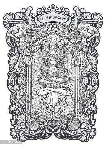 istock Queen of pentacles. Minor Arcana tarot card 1024413146