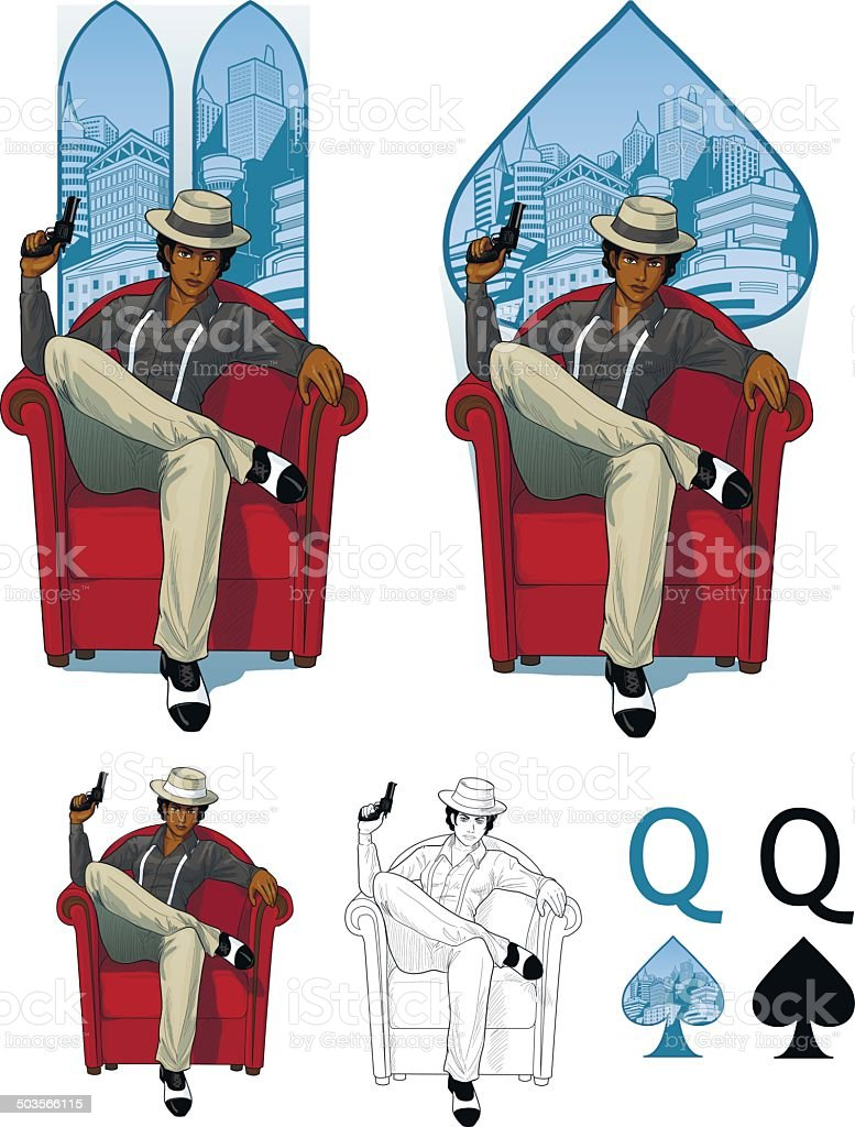 Queen of spades afroamerican mafioso woman Mafia card set vector art illustration