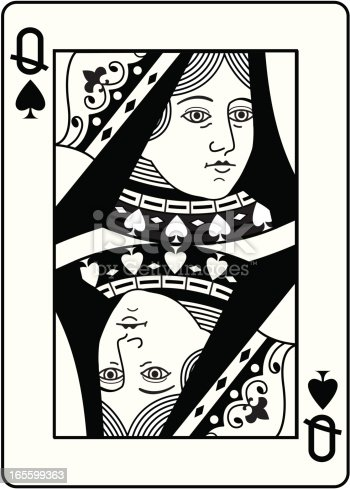 queen of spades black and white head stock vector art