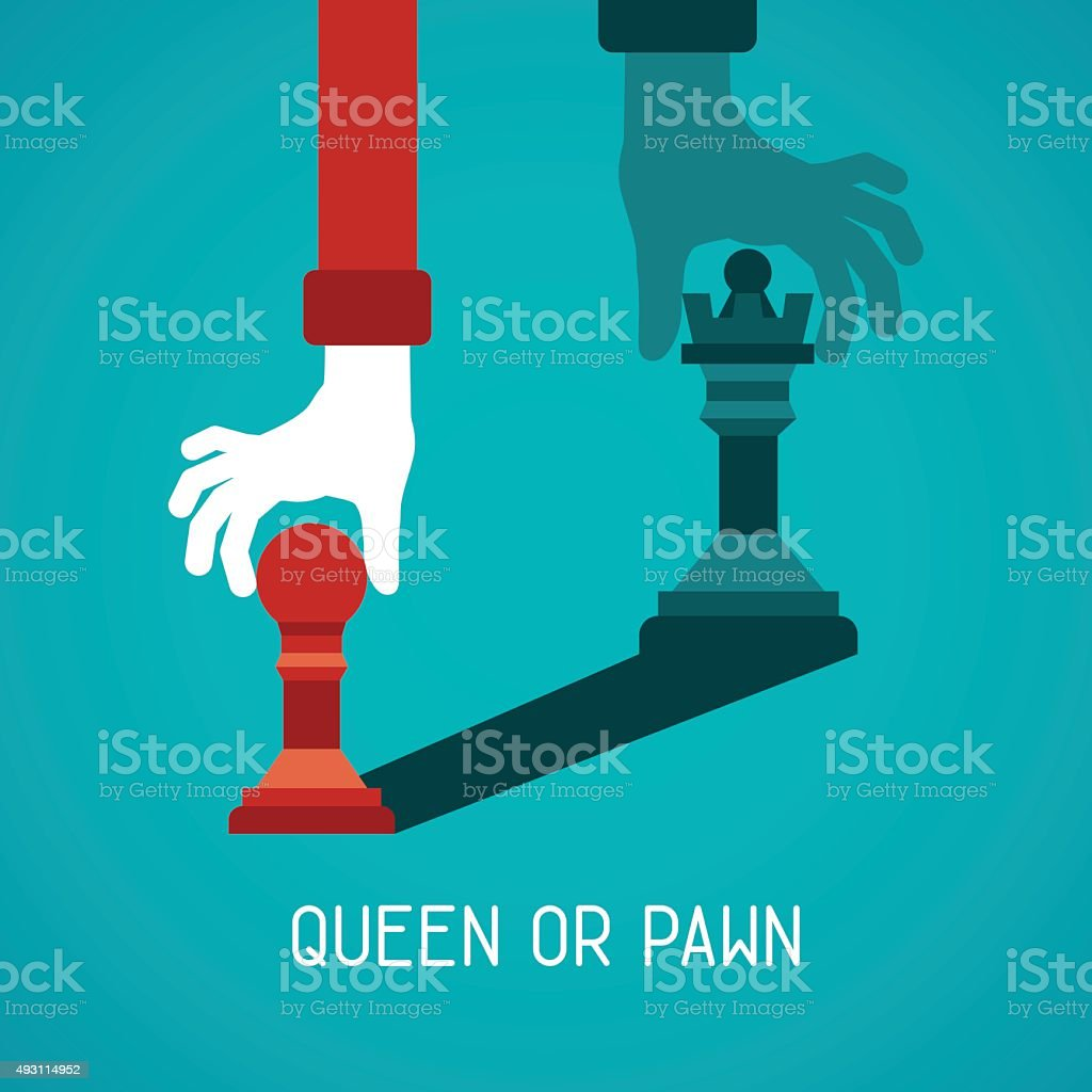 Queen or pawn abstract vector concept in flat style vector art illustration