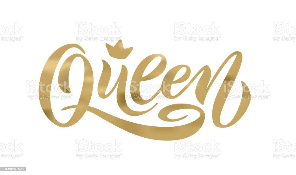 Mot de la Reine avec la Couronne. Illustration vectorielle de main lettrage texte - clipart vectoriel de Abstrait libre de droits