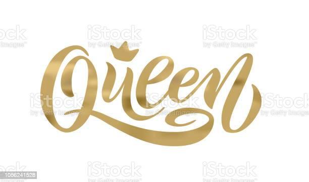 Mot De La Reine Avec La Couronne Illustration Vectorielle De Main Lettrage Texte Vecteurs libres de droits et plus d'images vectorielles de Abstrait