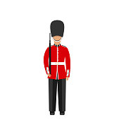 Illustration Queen's Guard. Man in Traditional Uniform with Weapon, British Soldier, Isolated on White Background - Vector