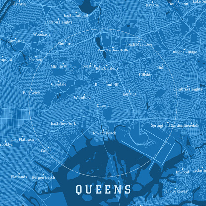 Queens NY City Vector Road Map Blue Text