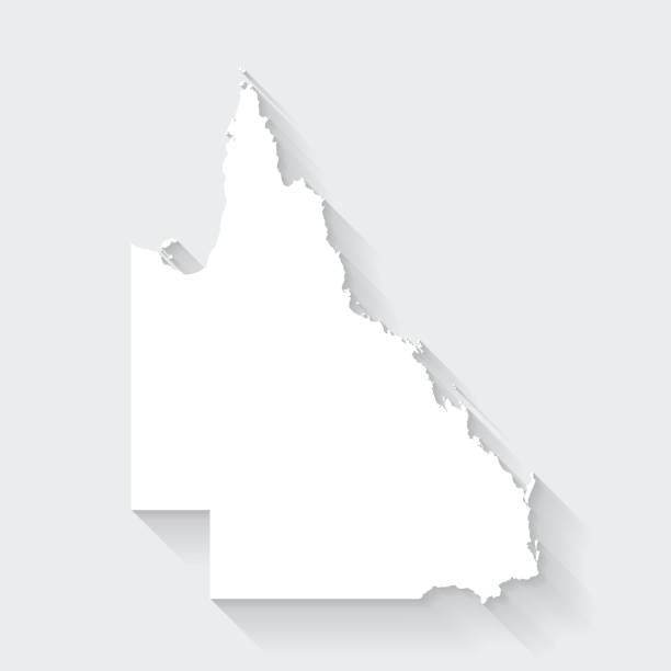 Queensland map with long shadow on blank background - Flat Design vector art illustration