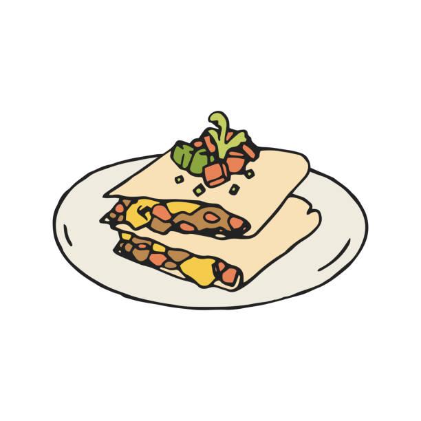 quesadilla-vektor-illustration. mexikanische - chimichanga stock-grafiken, -clipart, -cartoons und -symbole