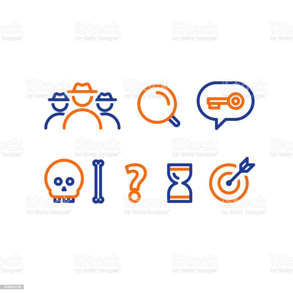 Quest game concept line icons, deduction and logic riddle vector art illustration