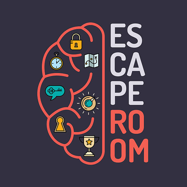 Quest game poster. Real-life room escape and quest game poster. escaping stock illustrations