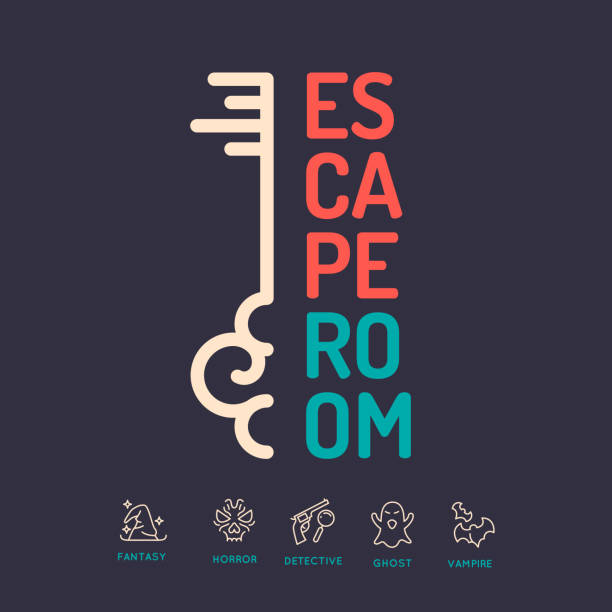 Quest game poster Real-life room escape and quest game poster. escaping stock illustrations