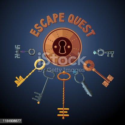 Quest game vector object. Vintage keys and lock. Door emblem. Escape room background.