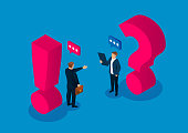 Question and answer concept, two businessmen standing next to the question mark and exclamation mark