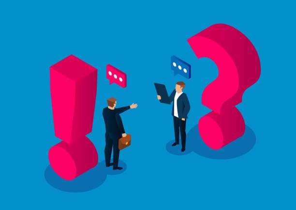 Frage-antwort-Konzept, zwei Geschäftsleute, die neben dem Fragezeichen und dem Ausrufezeichen stehen – Vektorgrafik