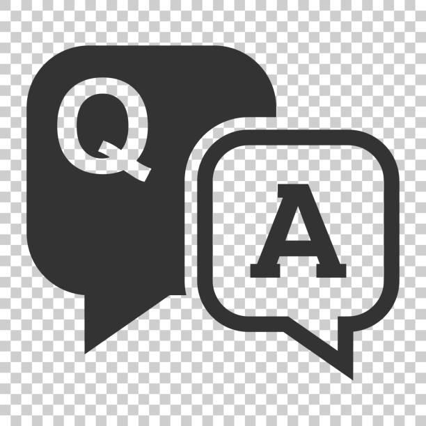 ilustraciones, imágenes clip art, dibujos animados e iconos de stock de icono de pregunta y respuesta de estilo plano. ilustración de vector de burbuja discusión habla sobre fondo aislado. pregunta, concepto de negocio de respuesta. - faq