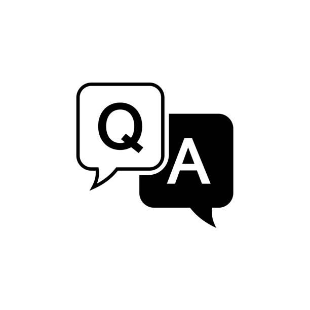 Question and answer icon in flat style. Discussion speech bubble vector illustration on white background. Question, answer business concept Question and answer icon in flat style. Discussion speech bubble vector illustration on white background. Question, answer business concept faq stock illustrations