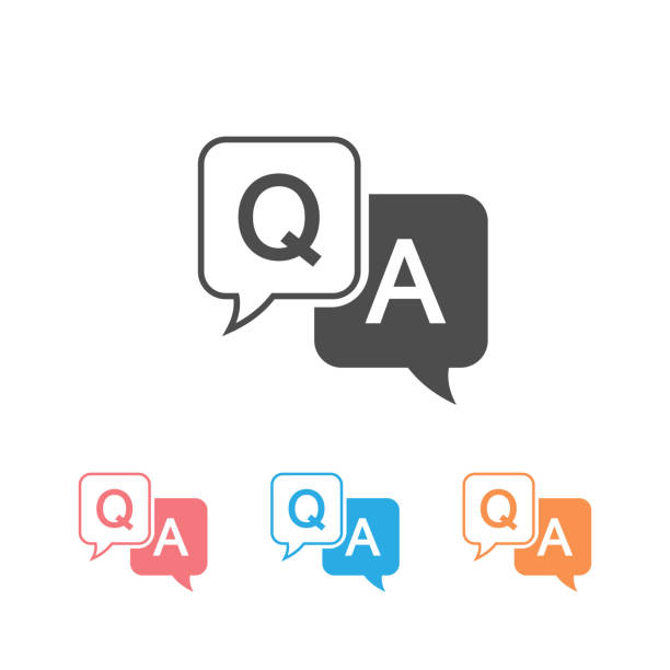 Question and answer icon set in flat style. Discussion speech bubble vector illustration on white background. Question, answer business concept Question and answer icon set in flat style. Discussion speech bubble vector illustration on white background. Question, answer business concept faq stock illustrations