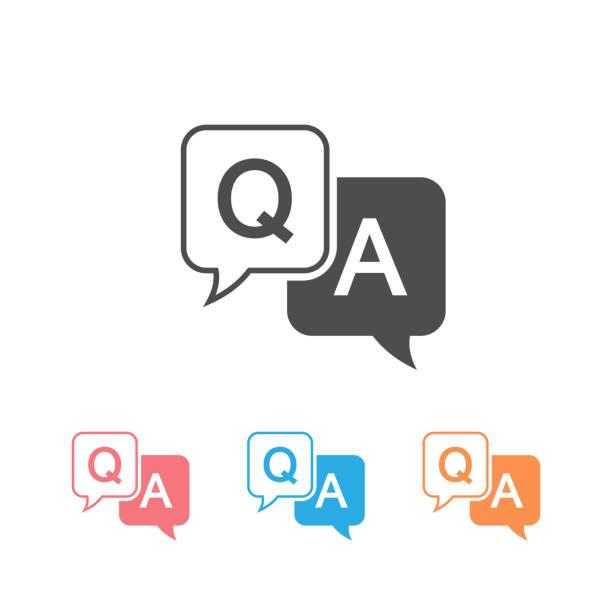 ilustraciones, imágenes clip art, dibujos animados e iconos de stock de icono de pregunta y respuesta establecido en estilo plano. ilustración vectorial de burbuja de voz de discusión sobre fondo blanco. pregunta, responda al concepto de negocio - faq