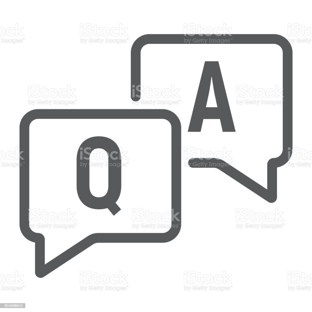 Question and answer line icon, e learning and education, speech bubble chat sign vector graphics, a linear pattern on a white background, eps 10.