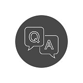 Question and answer line icon in flat style. Discussion speech bubble vector illustration on white background. Question, answer business concept