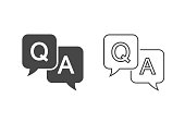 Question and answer line icon set in flat style. Discussion speech bubble vector illustration on white background. Question, answer business concept