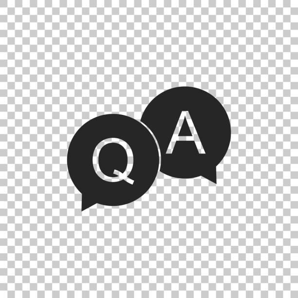 ilustraciones, imágenes clip art, dibujos animados e iconos de stock de pregunta y respuesta marcan en el icono de la burbuja de voz aislada sobre fondo transparente. símbolo q y a. diseño plano. ilustración de vector - faq