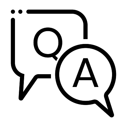 Question and answer or Q&A speech bubbles vector line art icon on a white background