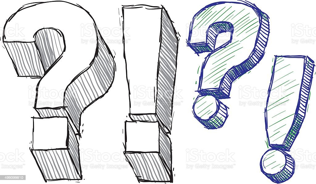 Question And Exclamation Doodle Marks vector art illustration