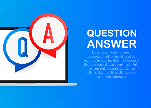 Question answer chat balloons in red and blue colors on a blue background.