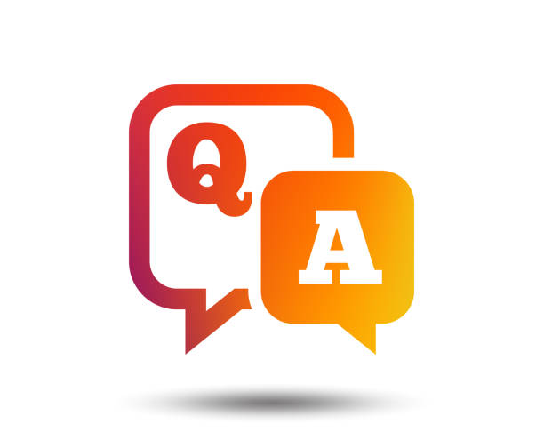Question answer sign icon. Q&A symbol. Question answer sign icon. Q&A symbol. Blurred gradient design element. Vivid graphic flat icon. Vector faq stock illustrations