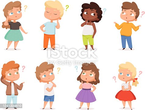 istock Question expression kids. Little genius high iq teenagers with question marks thinking vector illustrations 1241334610