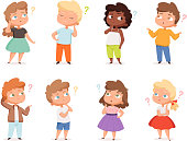 Question expression kids. Little genius high iq teenagers with question marks thinking vector illustrations. Child doubt, smart thoughtful about question, confused character