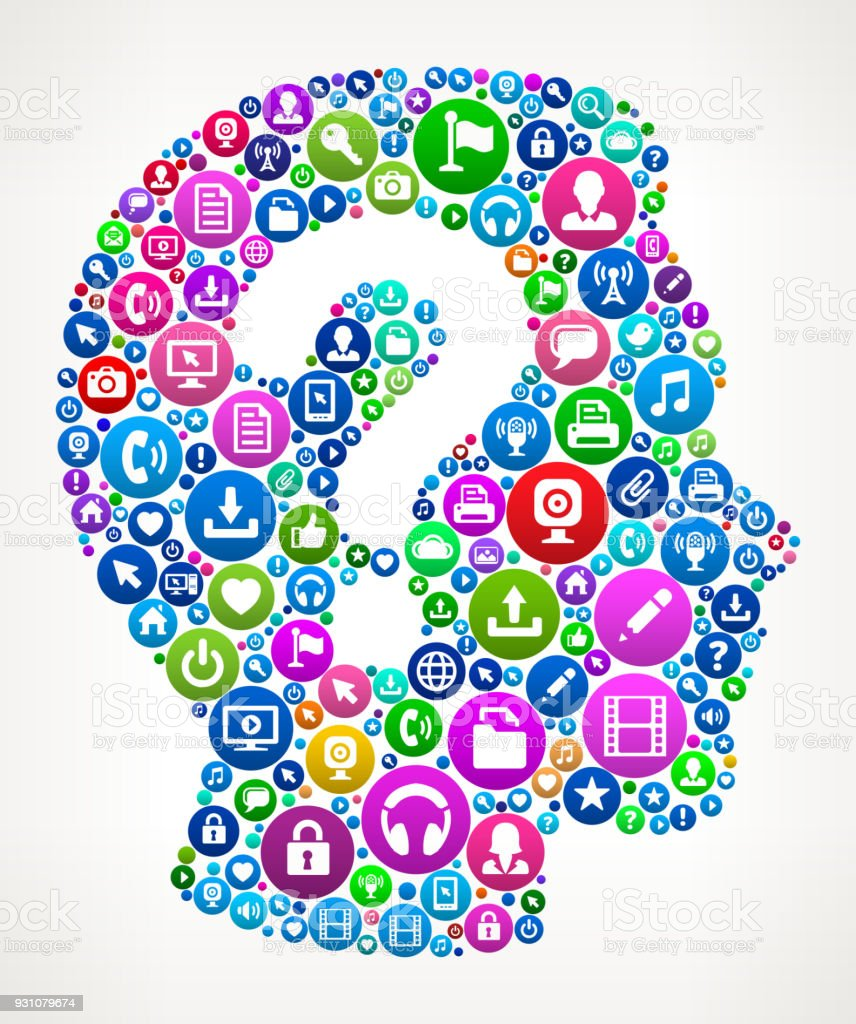 Question Face Internet Communication Technology Icon Pattern vector art illustration