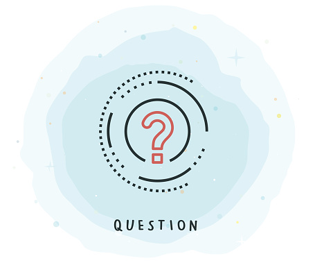 Question Icon with Watercolor Patch