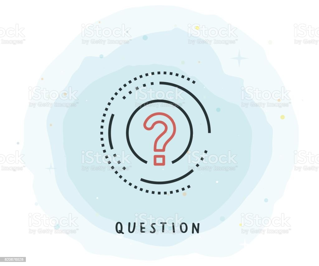 Question Icon with Watercolor Patch vector art illustration