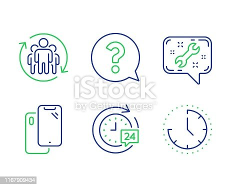 Question mark, 24h delivery and Teamwork line icons set. Smartphone, Spanner and Time signs. Help support, Stopwatch, Employees change. Phone. Business set. Line question mark outline icons. Vector