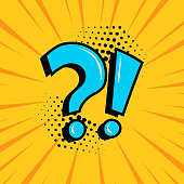 istock Question mark and exclamation point, blue signs on yellow comic banner in pop art style. Vector 1186111736