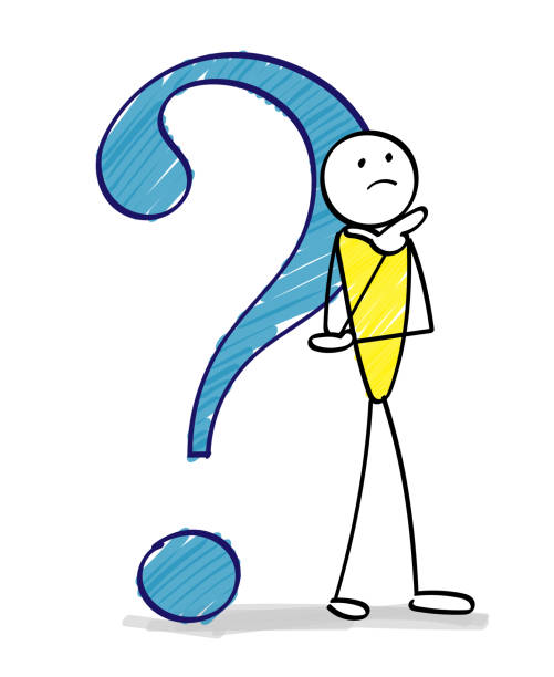 Question mark and people - Hand drawn Question mark and people - Hand drawn confused face stock illustrations