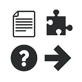 Question mark and puzzle signs. File, arrow
