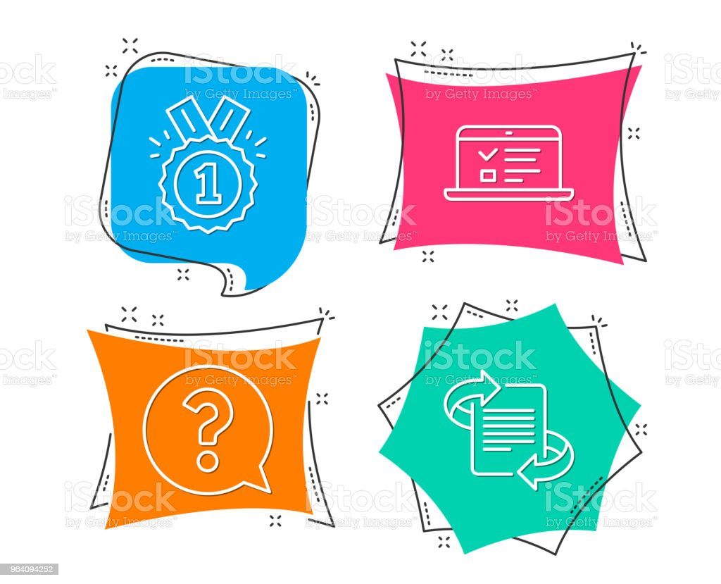 Question mark, Approved and Web lectures icons. Marketing sign. Help support, Winner badge, Online test. - Royalty-free Achievement stock vector
