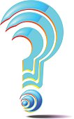 A question mark consisting of parts. The punctuation mark.