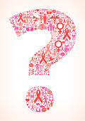 Question Mark on Breast Cancer Awareness Icon Pattern
