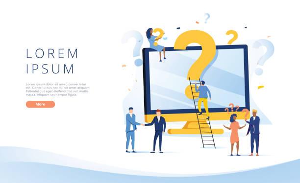Fragezeichen. Geschäftsleute stellen Fragen rund um ein riesiges Fragezeichen im Computer. Vektor-Web-Banner-Illustration – Vektorgrafik