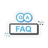 Question mark button or banner in flat 3D style. Discussion speech bubble pictogram. Vector illustration.