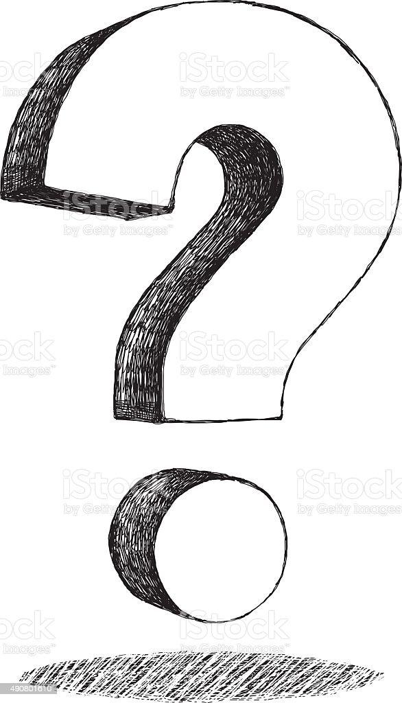 Question Mark Drawing vector art illustration