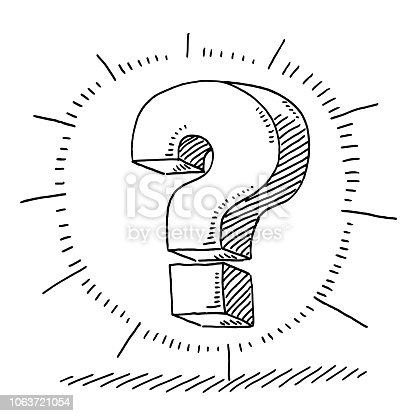 Hand-drawn vector drawing of a Question Mark Glow Symbol. Black-and-White sketch on a transparent background (.eps-file). Included files are EPS (v10) and Hi-Res JPG.