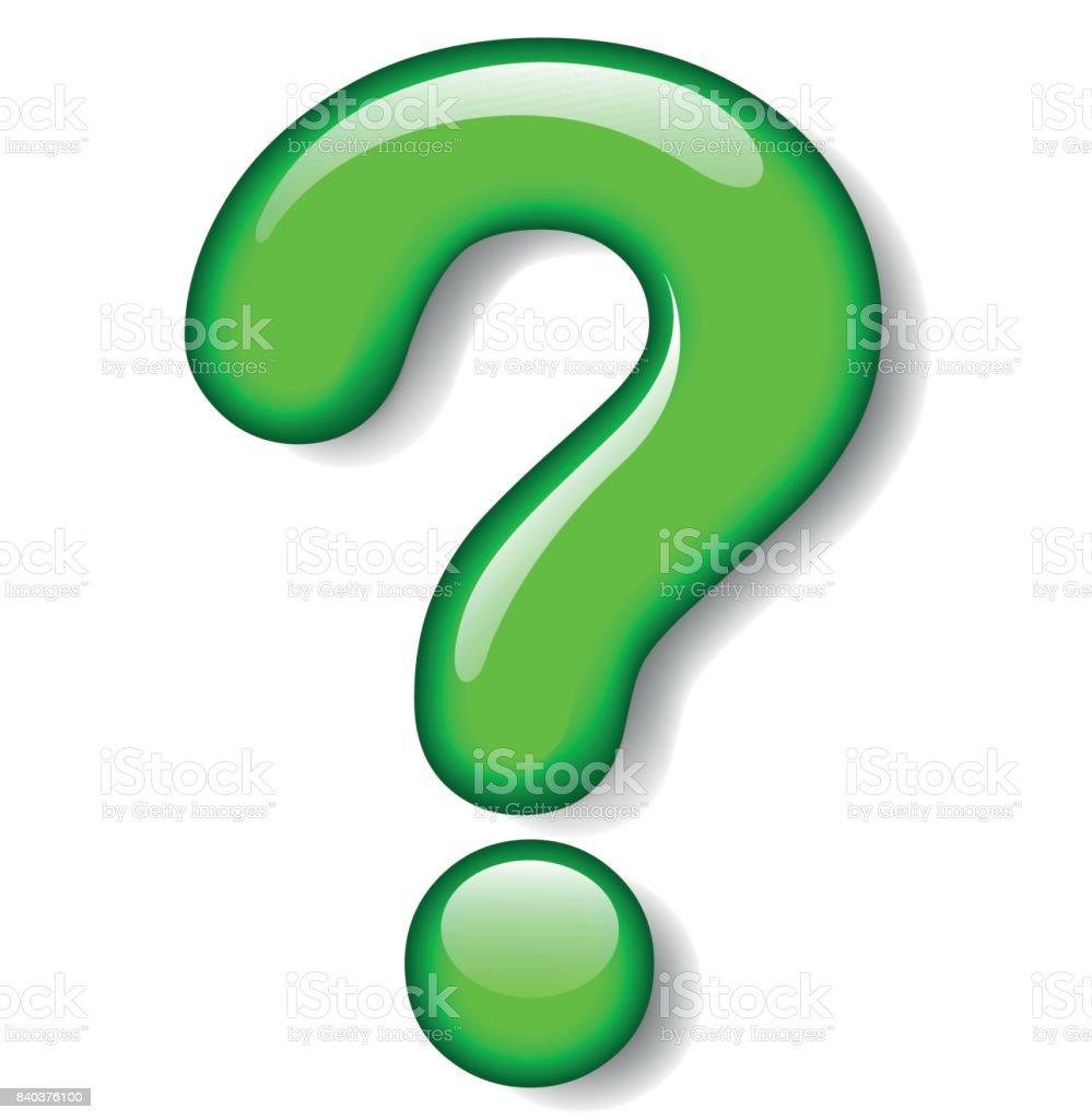 question mark green icon vector art illustration